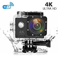 Action Camera 4K Ultra HD Waterproof Sports Camera Wifi 16MP 170 Degree Wide Angle Lens Sports DV Camcorder
