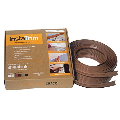 InstaTrim - Universal, Flexible, Adhesive Trim Solution - Cover Gaps Between Walls, Floors, Ceilings, and More (Light Brown) (Molding Base Finish Wood)
