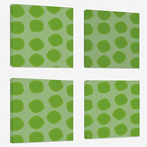 4pcs/Set Modern Painting Canvas Prints Wall Art for Home Decoration Lime Green Print On Canvas Giclee Artwork for Wall DecorSimplistic Formless Geometric Shapes in Different Shades Kids Nursery Theme ()