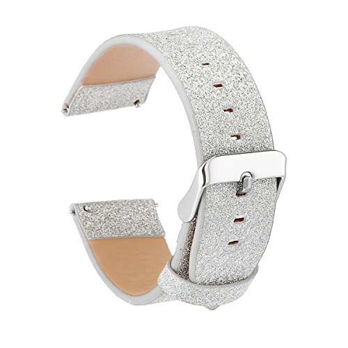 Womens Shiny Glitter Soft Leather Replacement Bling Watch Band Strap Bracelet Compatible for Samsung Gear S3 Frontier / S3 Classic Smart Watch