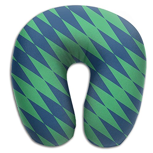 Lesi Yes U-Shape Neck Pillow Memory Foam Soft Blue Green Diamond Indoor Outdoor Travel Airplane Car Office (Pro Car Wear Diamond)
