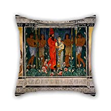 Oil Painting Ephraim Moses Lilien - An Allegorical Wedding- Sketch For A Carpet Dedicated To Mr. And Mrs. David Wolffsohn Triptych (from Throw Pillow Case 16 X 16 Inches / 40 By 40 Cm Gift Or Deco