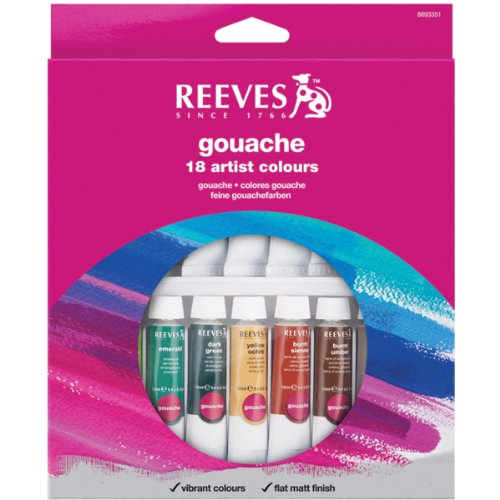 Reeves 18-Pack Gouache Color Tube Set, 10ml (Designers Gouache)
