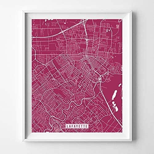 Kitchen Art Lafayette: Amazon.com: Lafayette Louisiana Map Print Street Poster