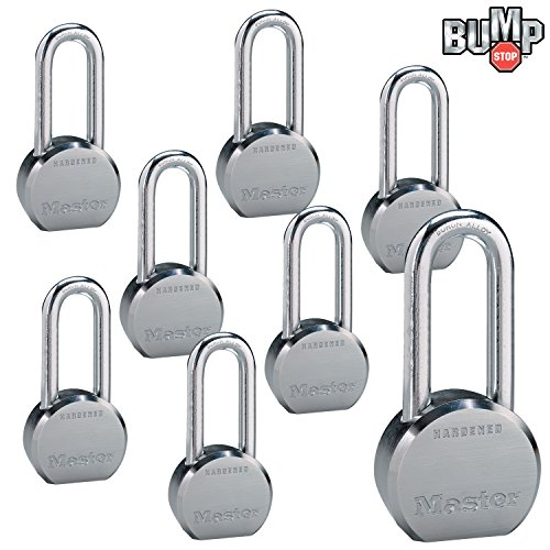 Master Lock - (8) High Security Pro Series Keyed Alike Padlocks 6230NKALH-8 w/BumpStop Technology (Best Padlock For Gate)