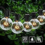 LEDESIGN 25Ft G40 Globe String Lights with 25 Shatterproof Bulbs, UL Listed Backyard Patio Lights for Bistro Pergola Tents Market Cafe Gazebo Party Decor, Bulbs Outdoor String Lights, Black Wire