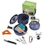 Camping Cookware Set,iDeep 12pcs Lightweight Cooking Pot Cook Set with Cook Stove Canister Stand Folding Spoon Kit Waiters Corkscrew Carabiner For Hiking Backpacking Camping