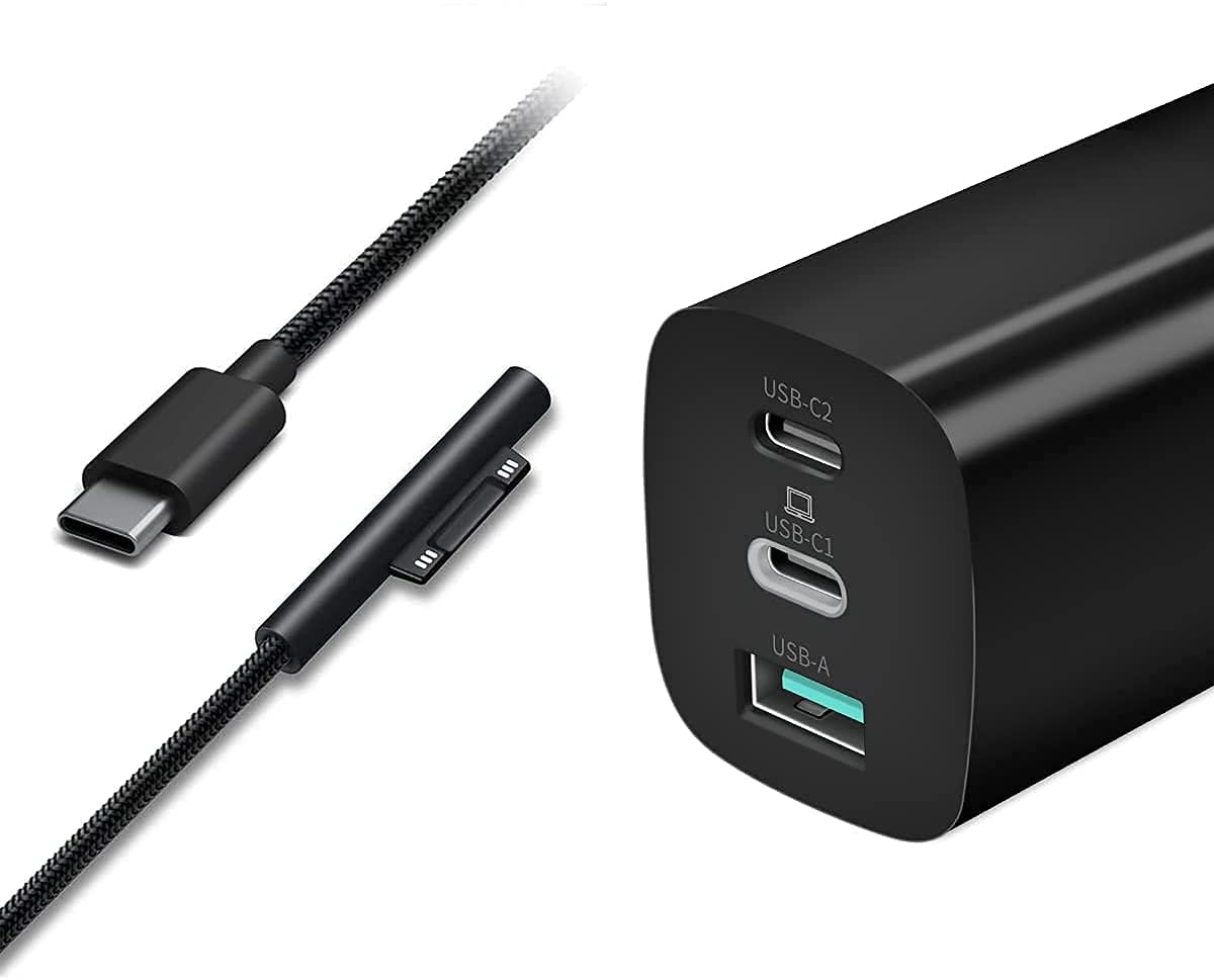 Sisyphy 65W GaN Surface Pro USBC Chager, Surface Connect to USB-C Charging Cable Bundle with GaN USB-C 65W 3-Port PD Charger, Power Delivery with PD3.0 QC3.0, Compatible for Surface Devices