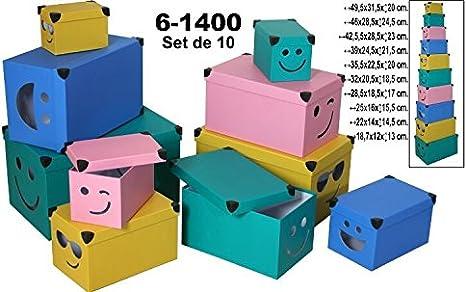 Supernova Decoracion-Set 10 Cajas de cartón Decorada con Dibujos de Caras. Surtidos en Medidas y Colores: Amazon.es: Hogar