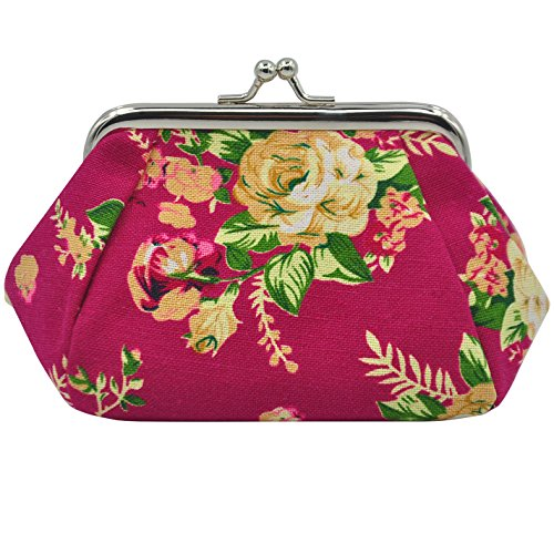 Oyachic Coin Pouch Canvas Card Purse Clasp Closure Classic Rose Pattern Keys Wallet Gift 5.1