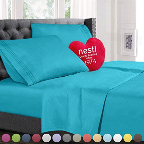 Twin Size Bed Sheets Set Beach Blue, Highest Quality Bedding Sheets Set on Amazon, 3-Piece Bed Set, Deep Pockets Fitted Sheet, 100% Luxury Soft Microfiber, Hypoallergenic, Cool & Breathable