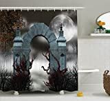 Ambesonne Gothic Decor Collection, Scary Medieval Middle Age Stone Gate with Fog Full Moon and Ivy Dark Night Theme Artwork, Polyester Fabric Bathroom Shower Curtain Set with Hooks, Grey Red