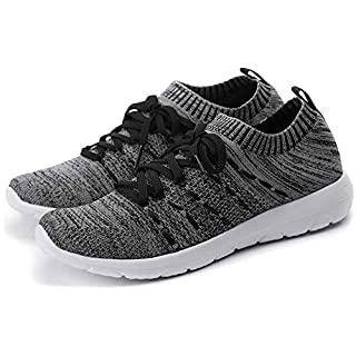 PromArder Women's Walking Shoes Slip On Athletic Running Sneakers Knit Mesh Comfortable Work Shoe Black/Grey