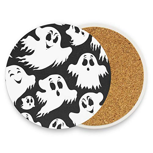 (Coasters for Drinks,Halloween Ghost 1 Ceramic Round Cork Trivet Heat Resistant Hot Pads Table Cup Mat Coaster-Set of 2)
