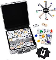 Homwom Double 12 Dominoes Set - Mexican Train Dominoes Double 12 Color Dot Dominoes with Aluminum Case