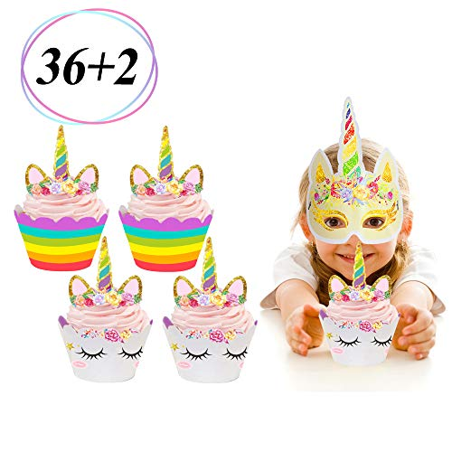 36 Pack Unicorn Cupcake Toppers and Wrappers Double Sided Kids Party Cake Decorations +2 Unicorn Masks for Party Supplies