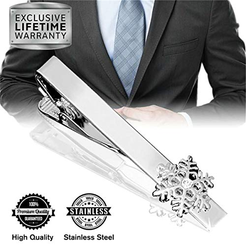 MGStyle Tie Clip, Mens Tie Bar, Men's Silver Tie Clips for Men, Snowflake Skinny Tie Bars for Ties Neckties, Winter Snow Metal Tie Clip Tack Pin, Flakes Tie Pinch Clasp, Regular Normal Size 2.2 Inch