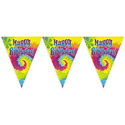 12ft Tie Dye Swirl Birthday Pennant Banner: Kitchen & Dining