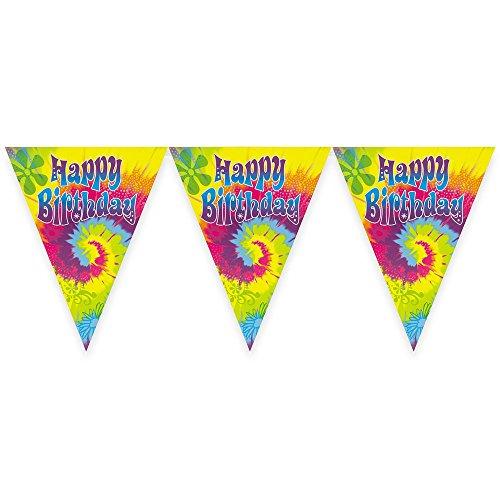 12ft Tie Dye Swirl Birthday Pennant Banner ()