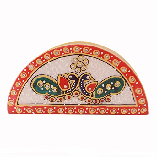 Purpledip Indian gift item: Handpainted Marble Napkin holder, Housewarming gift (10566)