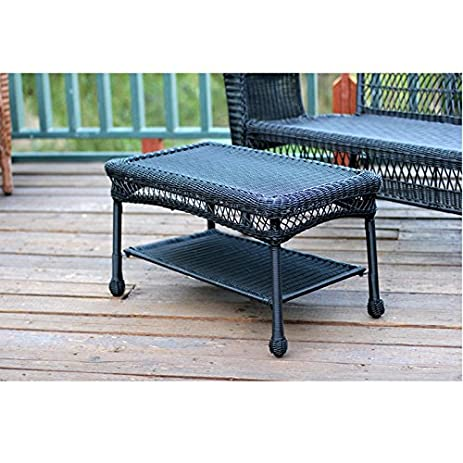 Jeco W00207 T Black Wicker Patio Furniture Coffee Table