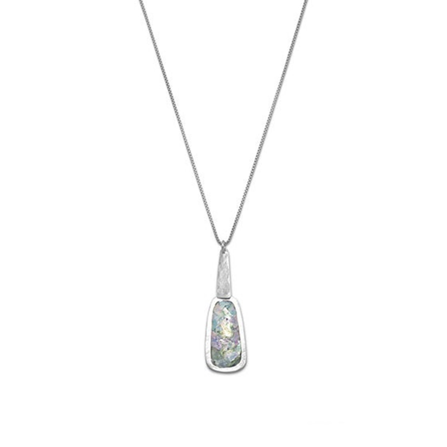 Ancient Roman Glass Necklace Handmade in Israel Sterling Silver with Box Chain