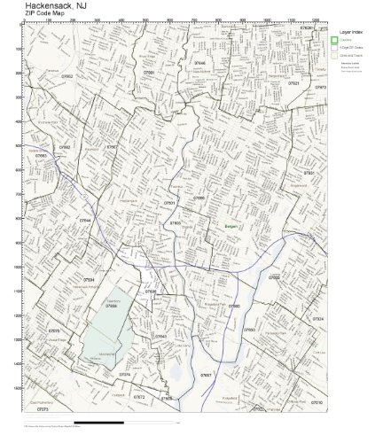 ZIP Code Wall Map of Hackensack, NJ ZIP Code Map Laminated
