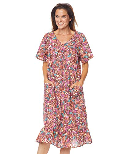 AmeriMark Casual Print Sun Dress House Dress Lounger Short Sleeves with Pockets Multi Mix 3X (Plus Dresses Size Patio)