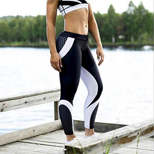 Challyhope Women Skinny Leggings High Waist Elastic Yoga Fitness Honeycomb 3D Printed Trouser