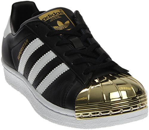 adidas Originals Women's Superstar Metal Toe W, Cblack,Ftwwht,Goldmt, 6 Medium (Peek A Sku)