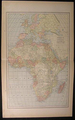Africa Mediterranean Sea Madagascar Cape Colony Sahara 1886 antique color map