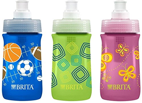 Brita Soft Squeeze Water Filter Bottle For Kids, Variety 3 Pack, Navy Blue Sports/Green Squares/Pink Butterflies