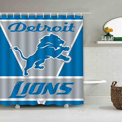 (Sorcerer Custom Colourful Detroit Lions American Tootball Team Shower Curtain Polyester Waterproof Proof for Bathroom Decoration Set with Hooks 66x72 Inches)