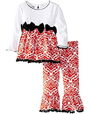 Girl's Red Damask Minky Holiday Pant Set: Mud Pie Baby Girl's Christmas Pant Set 3t