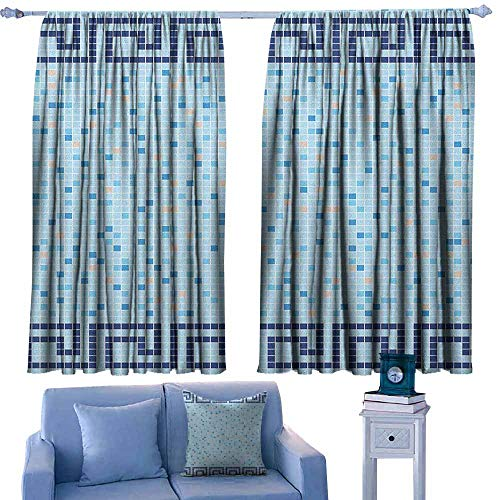 Waterproof Window Curtain,Aqua Antique Greek Border Mosaic Tile Squares Abstract Swimming Pool Design,Room Darkening, Noise Reducing,W72x72L Inches Pale Blue Navy Blue Beige