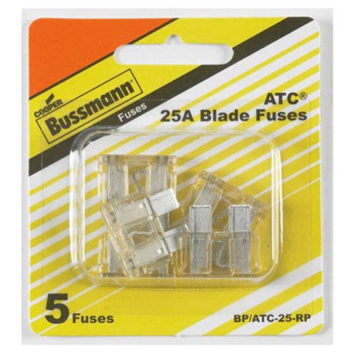 Bussmann BP/ATC-25-RP ATC Automotive Blade Fuse (25 Amp (Card)), 5 ()