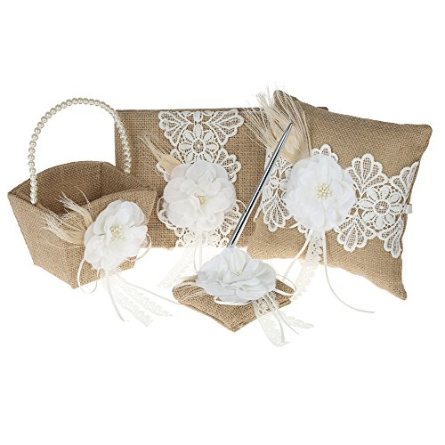 Walmeck 4pcs/set Vintage Rustic Burlap Wedding Supplies Flower Girl Basket + 7 7 inches Ring Bearer Pillow + Guest Book + Pen Holder Set (Girl Pillow Basket Guest Book)