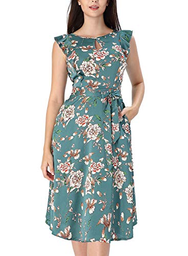 (VFSHOW Womens Summer Green Floral Print Ruffle Sleeves Keyhole Pockets Casual Beach A-Line Midi Dress G3119 GRN M)