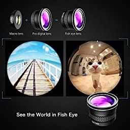 VicTsing Vtin 2 in 1 Clip-on Fish Eye Lens Kits, 180 Degree Fisheye Lens, 10X Macro Lens for iPhone SE, 6S, 6S Plus and Other Android Phones