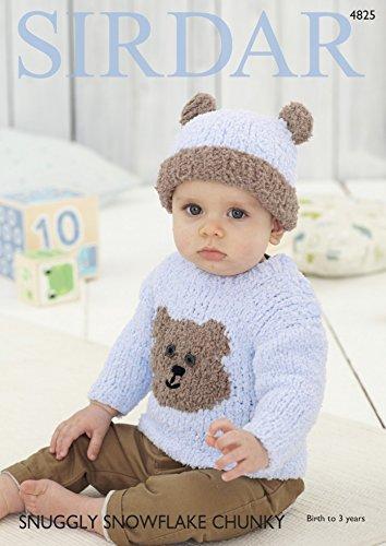 Sirdar Baby Teddy Bear Sweater & Hat Snowflake Knitting Pattern 4825 Chunky