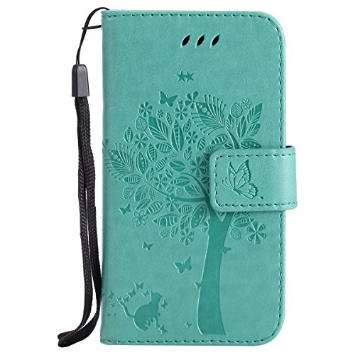 Galaxy J1 Ace Case,Gift_Source [Card Slot] [Cat Tree Butterfly Emboss] Flip Wallet Case Premium Soft PU Leather Folio Cover Stand Feature & Wrist Strap for Samsung Galaxy J1 Ace J110 - Flip Galaxy Samsung Cover Ace