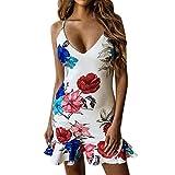 Forthery-Women Dress Floral Print V Neck Spaghetti Strap Sleeveless Ruffle Hem Bodycon Mini Dress(White,US Size XS = Tag S)