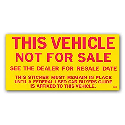 Donkey Auto Products Vehicle Not for Sale Stickers - Yellow and Red (100 per Pack): Automotive