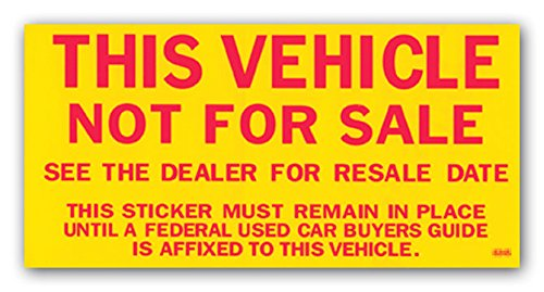 Vehicle Not for Sale Stickers - Yellow and Red (100 per Pack)