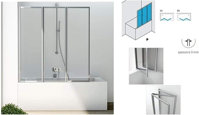 Baño pared baño sopravasca ducha box puertas plegables lacada blanco modelo Sveva lacada blanco acrílico 136 H 140 cm: Amazon.es: Hogar