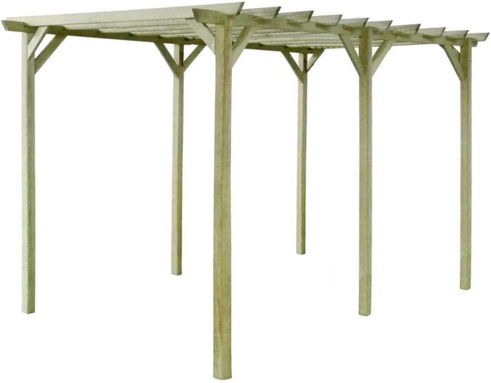 WT Trade Pérgola de jardín prémium de la Marca, 400 x 200 x 200 cm, Color marrón, Madera de Pino impregnada: Amazon.es: Hogar