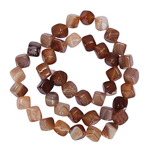 AAA Natural Yellow Brown Stripe Agate Gemstone 8mm Cube Loose Beads 15.5