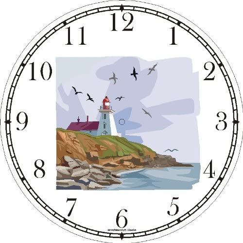 Lighthouse or Light House No.2 Wall Clock by WatchBuddy Timepieces White Frame