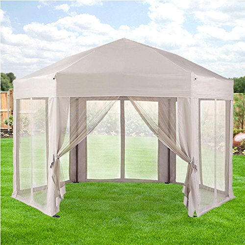 Garden Winds Pearl Bisque Hex Gazebo Replacement Canopy Top Cover - RipLock - Pearl Bisque
