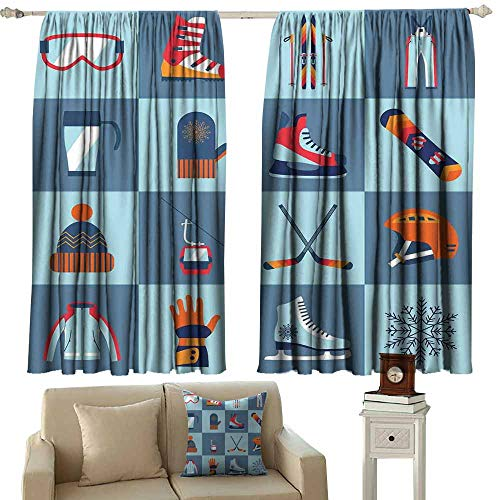 Kids Room Curtains Sports Ice Skating Winter Sports Skiing Boot Cap Glasses Skates Snowboard Slate Blue Turquoise Orange Tie Up Window Drapes Living Room W96 xL108 ()